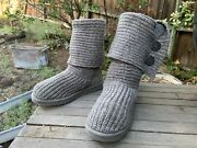 Ugg Classic Cardy Women's Gray Wool Knit Knee High Sock Boots, Size 7