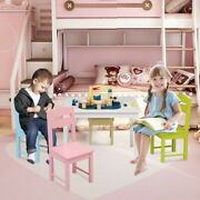 Kids Table And 4 Chairs Set Childrens Furniture Colourful Wooden Set Best Gift
