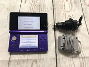 Nintendo 3ds Midnight Purple Portable Gaming Console With Car And Wall Charger
