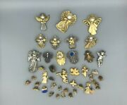Angel Guardian Angel Theme Signed And Unsigned Brooch Pin Bundle Lot - Read Below