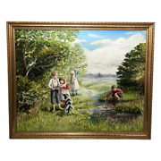English Artwork Oil Painting Children Playing By River And Dog After Myles Foster