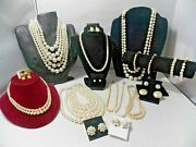 Lot Of Vintage Pearl Costume Jewelry Lot-necklaces, Bracelets ,earrings 20 Items