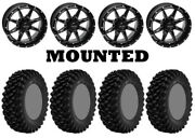 Kit 4 Superatv Xt Warrior Sticky 34x10-14 On Quadboss Slicer Gloss Black Irs