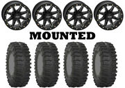 Kit 4 System 3 Xt300 Tires 30x10-14 On Quadboss Boss Lock Beadlock Black Hp1k