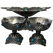 Set Fine French Pretty Acanthus Metalwork Comport Bowls Tableware Centrepieces