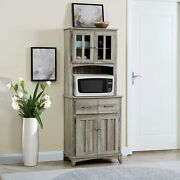 Rustic Gray Grey Microwave Cabinet Cupboard Food Pantry Kitchen Storage Organize