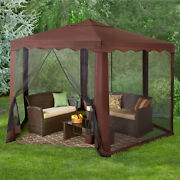 Outdoor Gazebo Canopy Brown Hexagon Tent 13 X 10 Enclosed Mosquito Netting Patio