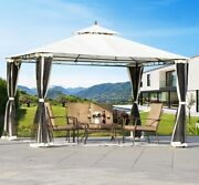 Patio Gazebo Canopy Wedding Tent Tiered 12x10 Enclosed Mosquito Netting Outdoor