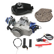 Racing Blue 49cc 2 Stroke Engine Motor Pull Start Pocket Mini Bike Dirt Atv Quad