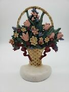 Midwest Importers Vintage Cast Iron Flowers In A Basket Door Stop Multicolored