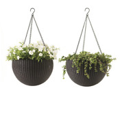 Keter Round Resin 13.8 D Hanging Planters 2 Pack