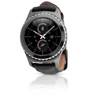 Samsung Gear S2 Classic Verizon Lte Stainless Steel Case And Black Leather Band