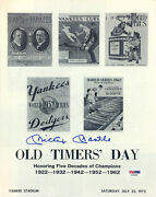 Mickey Mantle Signed New York Yankees 1972 Old Timersand039 Day Program Psa Loa