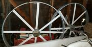 Four Cast Iron Vintage Wagon Wheels 47andtimes45andtimes3 With Base 50and Small 25.5andtimes2.5