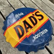 Dads Root Beer Bottle Cap Sign Metal Tin Advertising Reproduction 19andrdquo Diameter