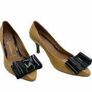 Jeffrey Campbell 7 Situation Bowed Heel Black Nude Patent Leather Pumps