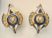 19th C. Victorian Enamel On 14k Gold With Seed Pearls Latch Earrings