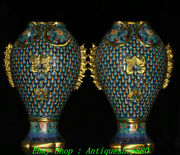 China Marked Breonze Gilt Cloisonne Fish Goldfish Fishs Zun Vase Bottle Pair