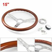 Wooden Steering Wheel Parts Car Accessory Vintage Style 6 Bolts Racing Boss Kits