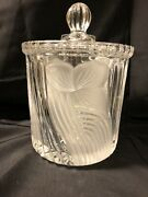 Action Crystal Glass Biscuit Barrel With Frosted Flowers - Excellent