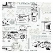 York Di0917 Neutral Disney And Pixar Cars Schematic Unpasted Wallcoverings