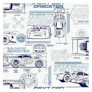 York Di0916 Blue Disney And Pixar Cars Schematic Unpasted Wallcoverings
