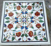 2and039x2and039 Marble Table Top Handmade White Dining Coffee Center Inlay Pietra Dura