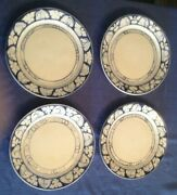 Dedham Pottery - 4 Bunny Ware 9 1/2 Dinner Plates 90' Mint Cond