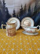 Brown Antique 1913 Furnivals Quail Serving Set - Pitcher Gravy Boat And Plates