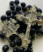 Anddagger Enormous Genuine C1800s Antique Colonial German Filigree Black Glass Rosary Anddagger