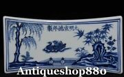 Old Daming China White Blue Porcelain Mandarin Duck Pillow Weeping Willow Statue
