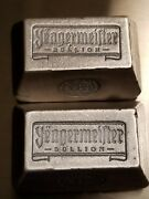 Two 5 Oz Yeagermeister Bullion Poured Silver Bars Antiqued Yeagers Poured Silver