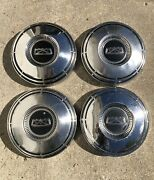 Vintage 1967-1972 Ford Truck 10andrdquo Dog Dish Hubcaps Pickup Stanless Steel Set Of 4