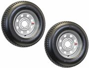 2-pack Trailer Tire Silver Spoke Wheel Rims St205/75d14 Lrc 5 Lug/4.5 In. 14x5.5