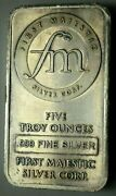 5 Oz 999 Silver Bar First Majestic Silver Corp. Northwest Territorial Mint Bar
