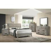 Contemporary Vintage Look King Size 5pc Bedroom Set Bed Dresser Mirror Ns Wood