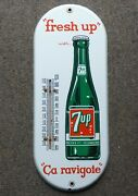 Nice Shiny 1950's Canadian 7up Porcelain Thermometer Sign, Seven-up Free Ship