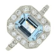 Vintage Design Aquamarine And Diamond Ring 0.20cts Pre-owned Excellent Condition