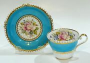 Rare Aynsley Bailey Design Cabbage Rose Cup And Saucer Hand Painted Hobnail Shape