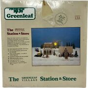 Vintage The Greenleaf Village Station And Store Christmas Model Train Buildings