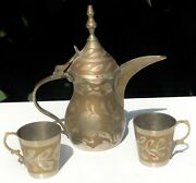 Arabic Signed Floral Dallah Coffee Pot Two Cups Coffee Set Tea Service