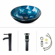 Bathroom Vessel Sink Tempered Glass Round Basin Painting Artistic Sink Blue New