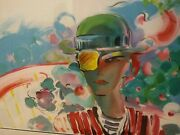 French Zeroand039s Girlfriend By Peter Max /150 27x36 90and039 Signed Serigraph Slc P.u.