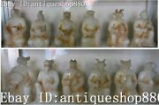 10 Old Jade Carving Feng Shui Dragon Tiger Cattle 12 Zodiac Year Animal Set