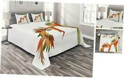 Floral Coverlet, Exotic Tropical Flowers On Branch Colorful King Orange Green