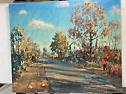Hugh H. Campbell Listed Mt. Holly Nj Autumn Street Scene With Chickens Painting