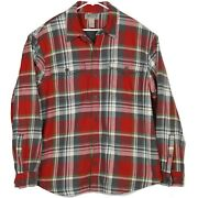 Duluth Trading Co Mens Fleece Lined Flannel Shirt Jacket Size Xl Red Gray Plaid