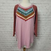 Free People Womens Spring Bound Crochet Paneled Shirt In Mauve Mouse Combo Nwt