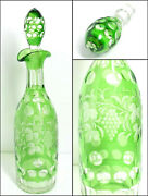 Vtg Bohemian Crystal Green Cut To Clear Decanter Dot Grape And Vine Pattern 13.75