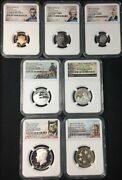 2021-s Ngc Pf70 Ucameo 7 Coin .999 Silver Proof Set First Day Issue Ships Now